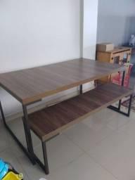 Mesa de jantar etna new forest acompanha 2 bancos