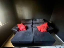Sofá retrátil reclinável com massagem