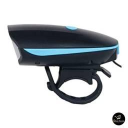 Farol Lanterna Com Pisca Alerta Em LED E Buzina De Bicicleta Recarregável USB, Preto, 7588