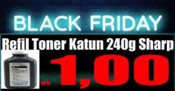 Black frete Refil Toner Katun 240g Sharp AL 1000, AL 1041, AL 1200,