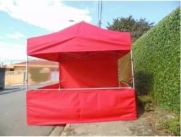 Tendas Sanfonadas 3x3 em nylon600 com suporte para 1 Balcão