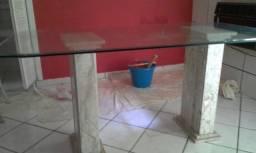 Mesa vidro bisotado com 6 cadeiras