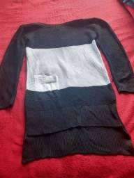 Vestido preto e branco de linho tamanho M