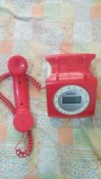 Telefone Retro Vintage Intelbras C/ Fio Tc8312 Viva Voz Vermelho (Leia todo o anúncio)