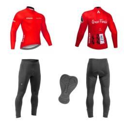 Conjunto de Ciclismo Blusa Strava + Calça Roupa de Ciclista