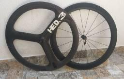 Par de rodas carbono tubulares