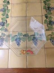 Conjunto de petisqueira de vidro.