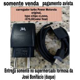 Carregador Motorola original,turbo Power,entrada type c (tipo c),novo,r$70,00