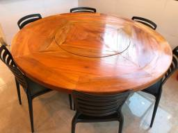 Mesa de madeira Peroba do campo redonda