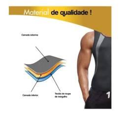 Camiseta cinta modeladora queima gordura masculino com ziper