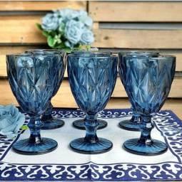 Jogo De Taças De Vidro Diamond Azul 300ml<br>Novas