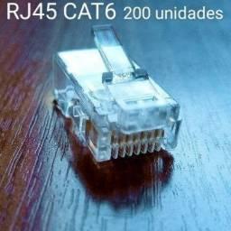 Kit 200 unidades do conector de cabo de rede rj45 cat6