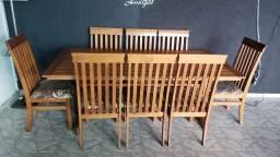 Mesa Madeira Rústica Maciça cadeiras Estofadas Churrasqueira