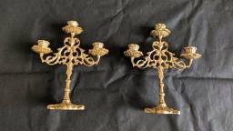 Lindo par de castiçal em bronze