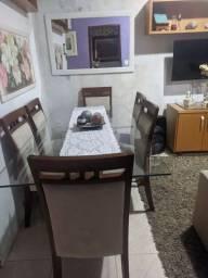 Mesa jantar com 6 cadeiras base (pé) vidro e madeira