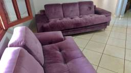 Sofá 5 lugares em veludo lilás