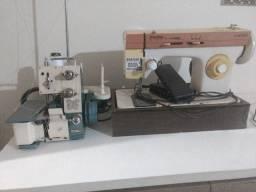 Máquina overloque chinesinha e uma máquina zigzag
