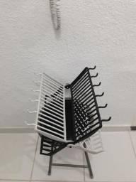 Escorredor Para Louças Plástico Preto e branco
