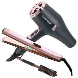 Kit Profissional Rosé Vortex Gold MQ Hair - Secador + Prancha + Brinde
