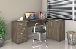 Mesa L com Armário para Escritório, Moderna e Compacta