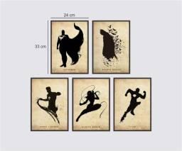 Composição de quadros decorativos DC 24x33 cm cada * Com Moldura
