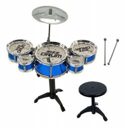 Bateria infantil com 5 tambores mais banqueta