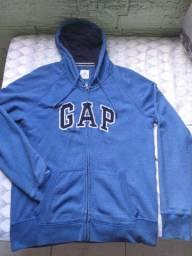 Casaco GAP Azul zíper gorro tamanho G