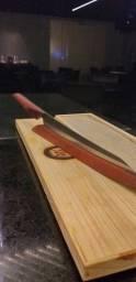Yanagiba Faca de sushi artesanal aço carbono  Cabo de muicatiara 300mm
