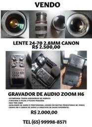 Vendo Lente 24-70 I gravador de audio
