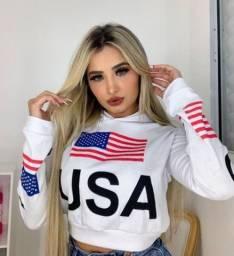 Cropped USA moletom