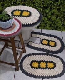 4 Jogos de banheiro Kit Conjunto Crochê Barbante colorido barato Promoção