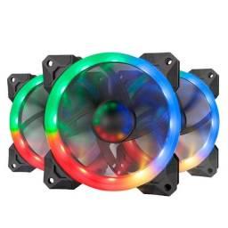 Título do anúncio: Kit Fan 3 Unidades Com Controladora RGB 120mm GC-F008 Redragon