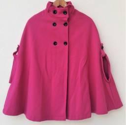 Poncho Pink em Moleton com Gola Pelúcia Preta