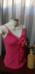 Título do anúncio: Blusa de Alcinha em Viscose Rosa - M