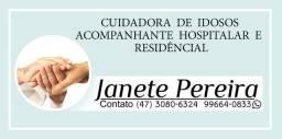 Cuidadora de idosos e acompanhante hospitalar