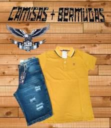 Camisa polo + bermuda jeans