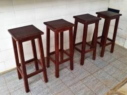 Kit com 4 Banquetas Vintage Altas de Madeira de Alta Qualidade (Promoção)