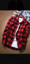 Camisa masculina xadrez de manga longa em flanela vermelho e preto<br>Extra G