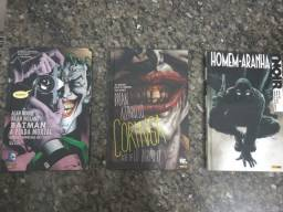 HQs com destaque para Batman a piada mortal, Coringa e Homem Aranha capa dura