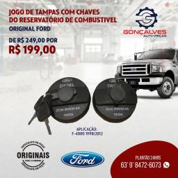JOGO DE TAMPAS COM CHAVES DO RESERVATÓRIO DE COMBUSTÍVEL ORIGINAL FORD