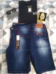 Bermudas e calças a pronta entrega Jeans com Elastano.