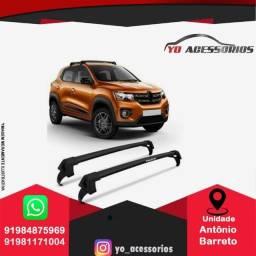 Rack De Teto Renault Kwid 2017 2018 2019 2020 Aluminio Preto