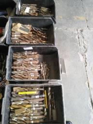 Lote com 140 kg de broca aço rápido novas e usadas
