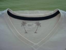 Camiseta infantil, marca: BKT, tamanho 16, bege claro