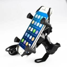 Suporte Celular Pra Moto Boy Garra Ferro C/ Carregador USB P/ Retrovisor