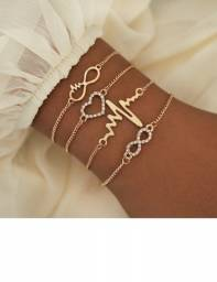 Vintage dourado pulseira ajustável pulseiras abertas moda joias 10,00