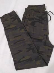 Calças Jeans Camuflada Masculina Jogger  Punho Elastico