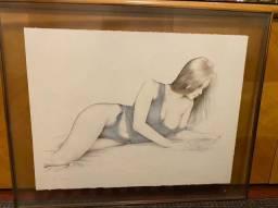 Quadro Litogravura com Moldura Mulher - Artista Plástico Eduardo Lima
