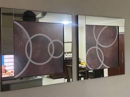 Quadro espelhado madeira maciça duplo
