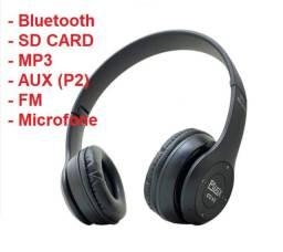 Fone Ouvido Sem Fio com microfone / Bluetooth / Cartão de memoria / Aux P2 / FM